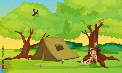 A boy and a tent for camping