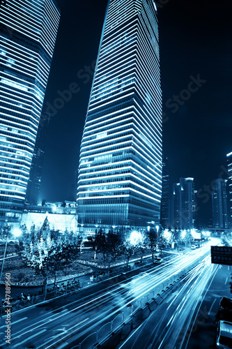 Shanghai Pudong night, car light trails