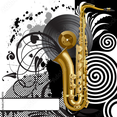 Black background with a saxophone