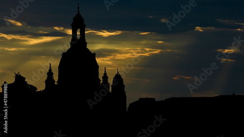 Germany Frauenkirche Dresden sunbeams