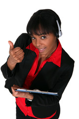 Call-center worker giving thumbs-up
