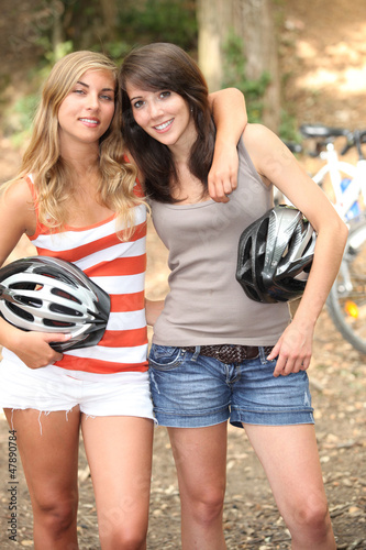Friends on bikes