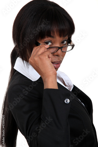 African woman with glasses