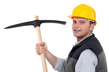 Man with pick-axe
