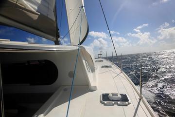 Closeup of boat deck and sail