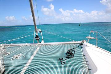 Closeup of catamaran net