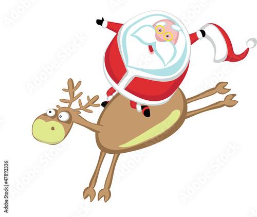 Santa riding a reindeer