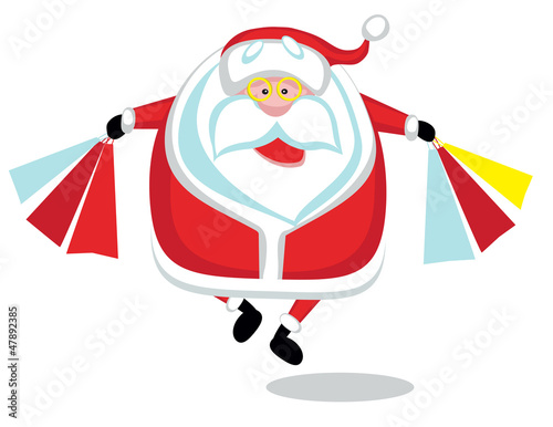 Happy cartoon Santa shopping