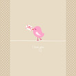 Pink Bird Holding Love Letter Retro