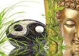 composition zen, bouddha, bambou, yin yang - 47892906