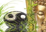 Fototapety composition zen, bouddha, bambou, yin yang