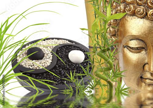 composition zen, bouddha, bambou, yin yang