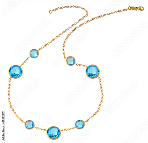 gold chain with sapphires