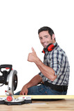 Approving tradesman using a mitre saw poster