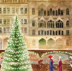 Christmas card watercolor drawing