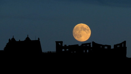 Germany Heidelberg Castle moonrise