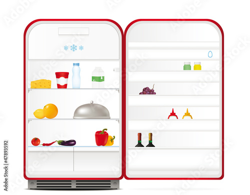 Red retro fridge with food and drinks
