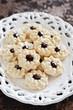 Cookies with jam (Kuraby), selective focus