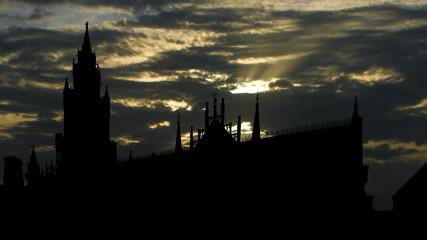 Germany Munich Rathaus sunpassing