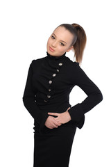 Posing girl in black dress