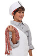 Little boy dressed as butcher