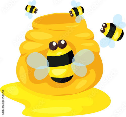 cute bee with pot of honey