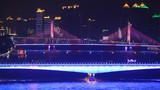 Jiangwan bridge stands and shine of light in front of