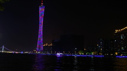 Ship float on Pearl river in front of Canton tower