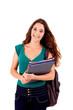 University girl holding books and smiling