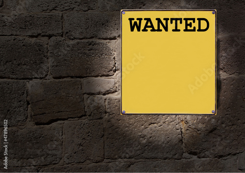 Gelbes Schild Wanted
