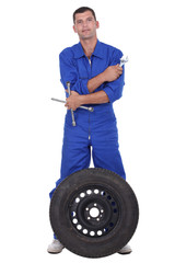 Mechanic with wheel