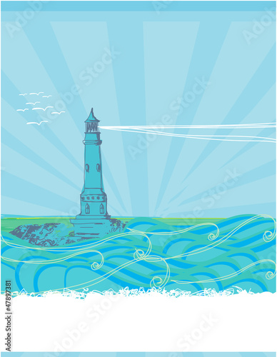 lighthouse seen from a tiny beach - blue Poster