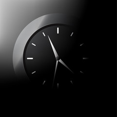 Clock in black background