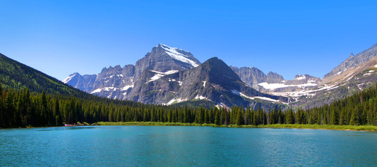 Panoramic view of Swift Current lake in Glacier national park