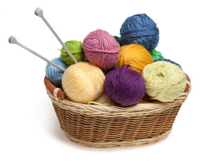 Knitting yarn balls and needles in basket