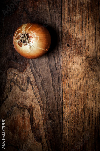 onion on wood