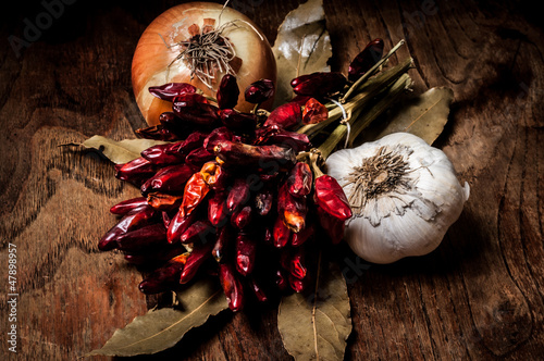 composition of chilies, onion and garlic