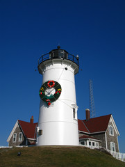 Christmas holiday decorated Nobska Lighthouse on cape Cod