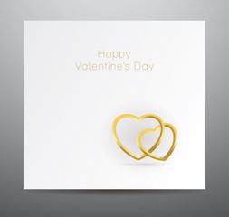 Vector valentine's card with two golden hearts.
