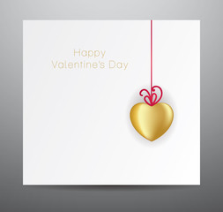 Nice vector valentine's card with gold heart.