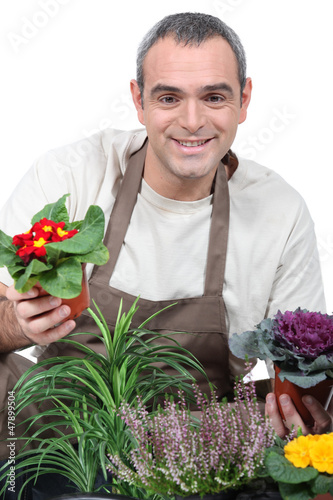 A gardener with his plants
