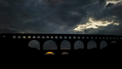 France Pont du Gard colorful dusk