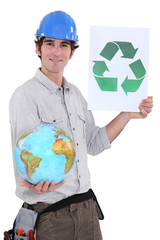 Tradesman promoting recycling in the world