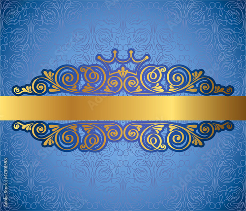 Gold antique frame on blue decorative background, vector