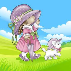 Menina passeando com gatinho