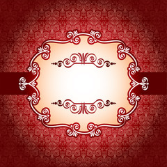 Lace frame and design elements on seamless retro background