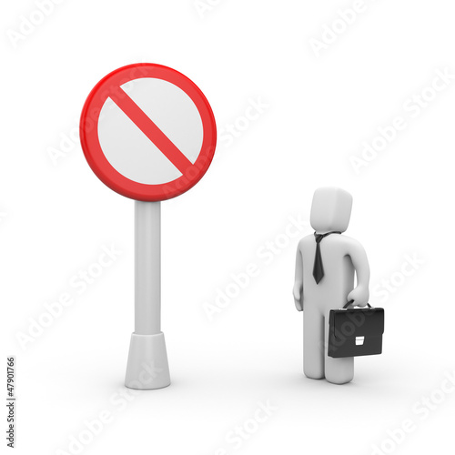 Businessman and stop sign