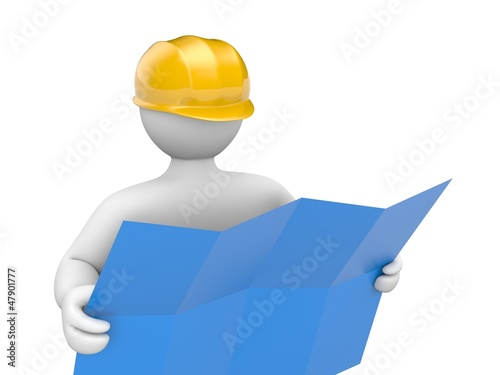 Architect holding blueprints