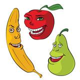 мультяшные фрукты, персонажи. Банан, яблоко, груша, вектор