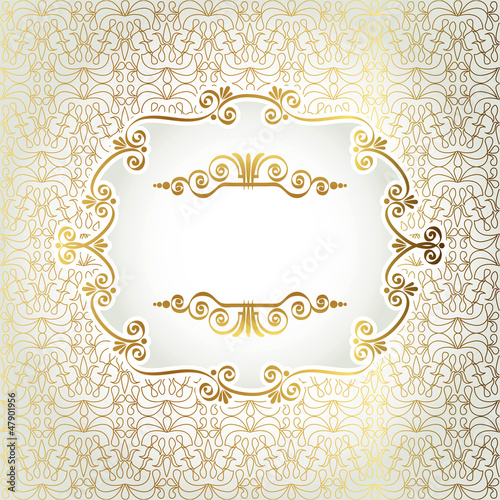 Gold antique frame on a light background of decorative